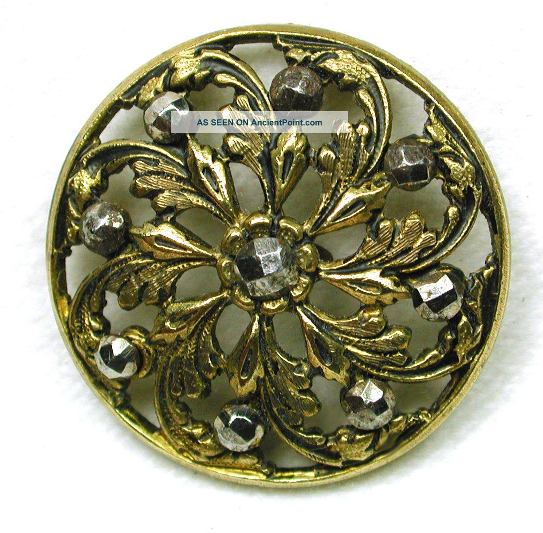 Antique Pierced Brass Button Pinwheel Floral W/ Cut Steel Accents Buttons photo