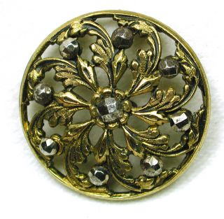 Antique Pierced Brass Button Pinwheel Floral W/ Cut Steel Accents photo