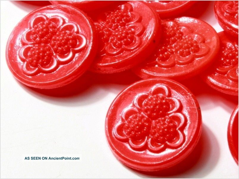 (24) 18 Mm Antique Vintage Deco Czech Red Flower Glass Buttons 20´s Fancy Buttons photo