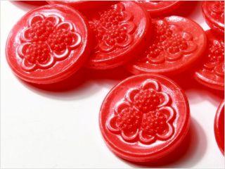 (24) 18 Mm Antique Vintage Deco Czech Red Flower Glass Buttons 20´s Fancy photo