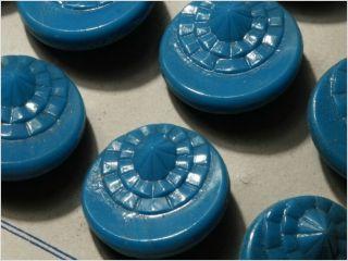 Card (24) 18 Mm Antique Vintage Czech Blue Art Deco Glass Buttons 20´s photo