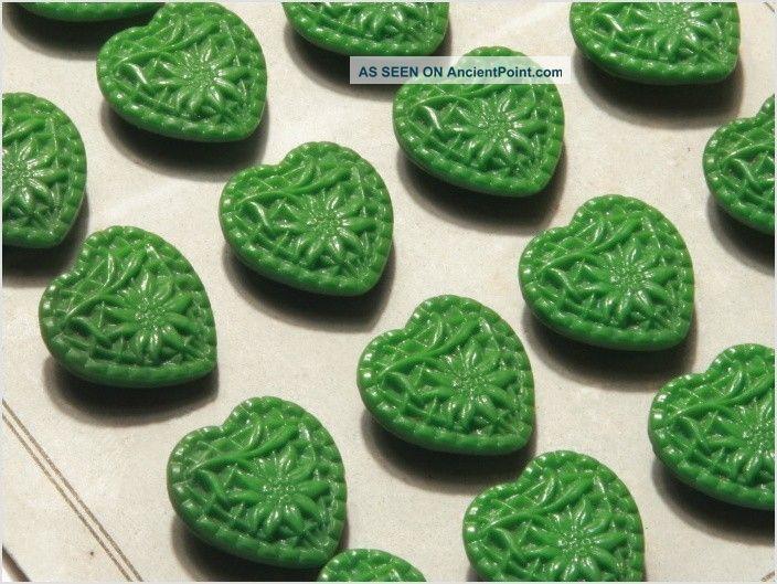 Card (24) Vintage Czech Green Heart Floral Edelweiss Glass Buttons 20´s 18 Mm Buttons photo