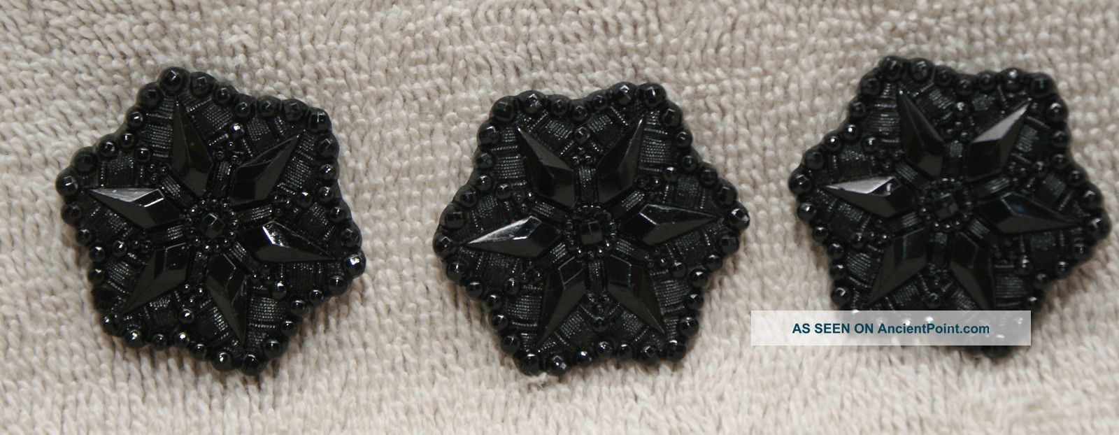3 Antique Fancy Black Glass Buttons Floral Embroidered W/scalloped Border Buttons photo