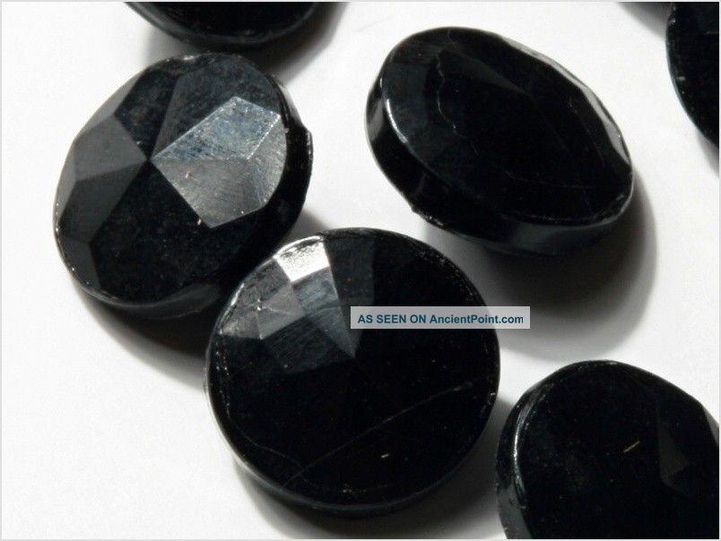 (24) 14 Mm Vintage Art Deco Czech Fancy Black Glass Buttons Faceted Look Buttons photo