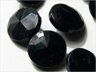 (24) 14 Mm Vintage Art Deco Czech Fancy Black Glass Buttons Faceted Look photo