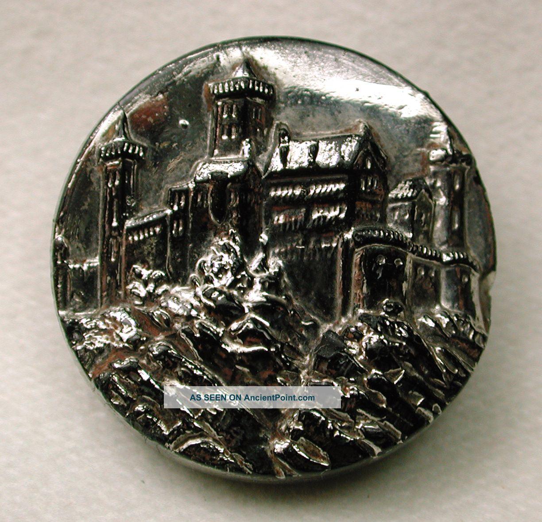 Antique Black Glass Button Castle Pictorial Design W/ Silver Luster Buttons photo