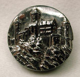 Antique Black Glass Button Castle Pictorial Design W/ Silver Luster photo