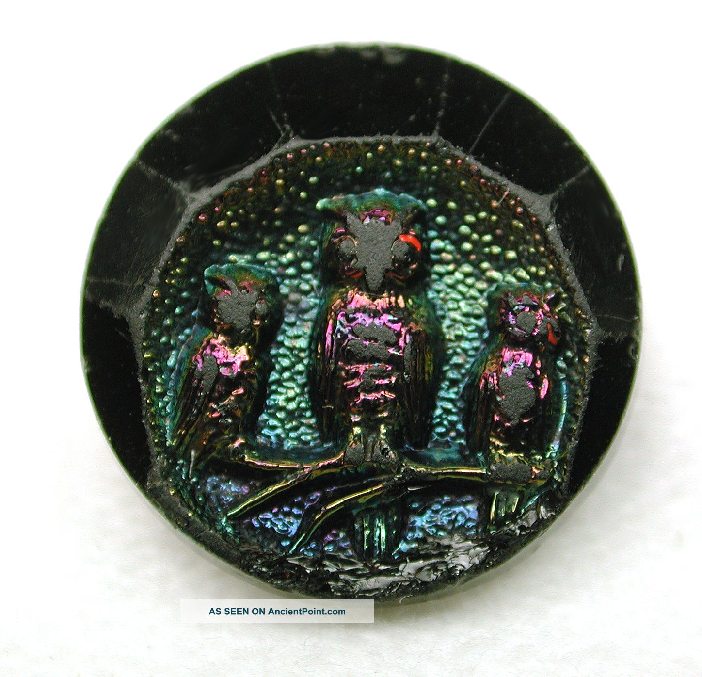 Antique Black Glass Button 3 Owls On A Branch W/ Carnival Luster Buttons photo