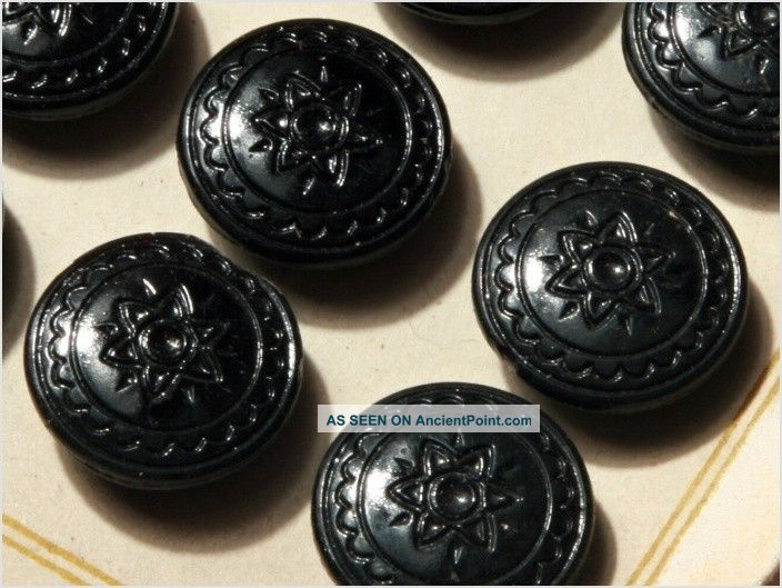 Card (24) 18 Mm 20´s Vintage Czech Deco Fancy Glass Buttons Black Flower Buttons photo