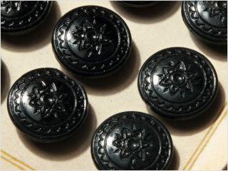 Card (24) 18 Mm 20´s Vintage Czech Deco Fancy Glass Buttons Black Flower photo