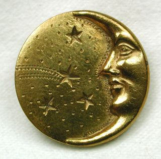 Antique Stamped Brass Button Crescent Moon Face & Stars Design photo