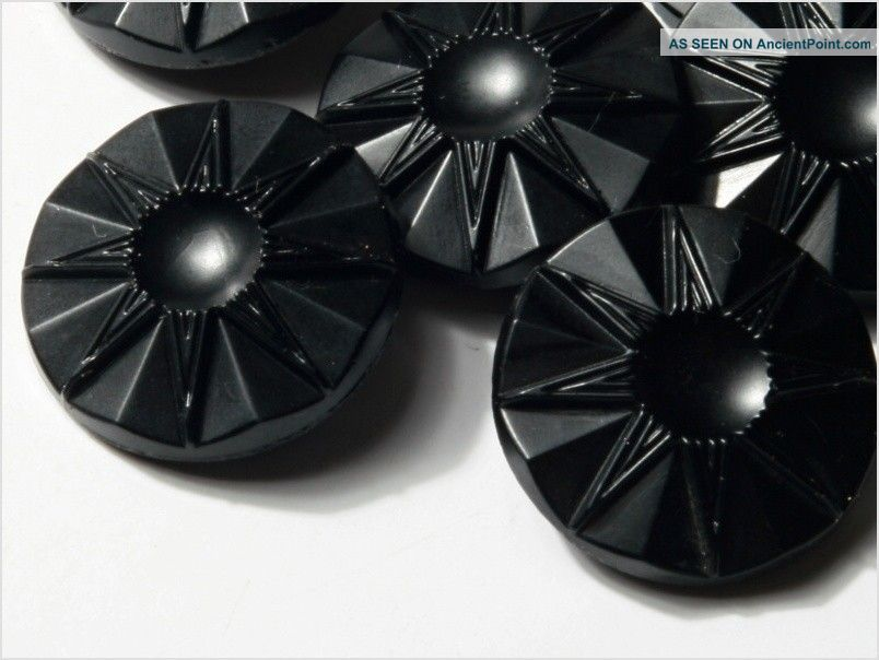 (12) 18 Mm 20´s Vintage Czech Art Deco Flower Black Glass Buttons Buttons photo