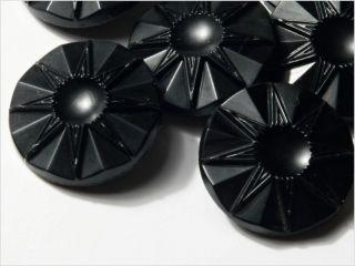 (12) 18 Mm 20´s Vintage Czech Art Deco Flower Black Glass Buttons photo
