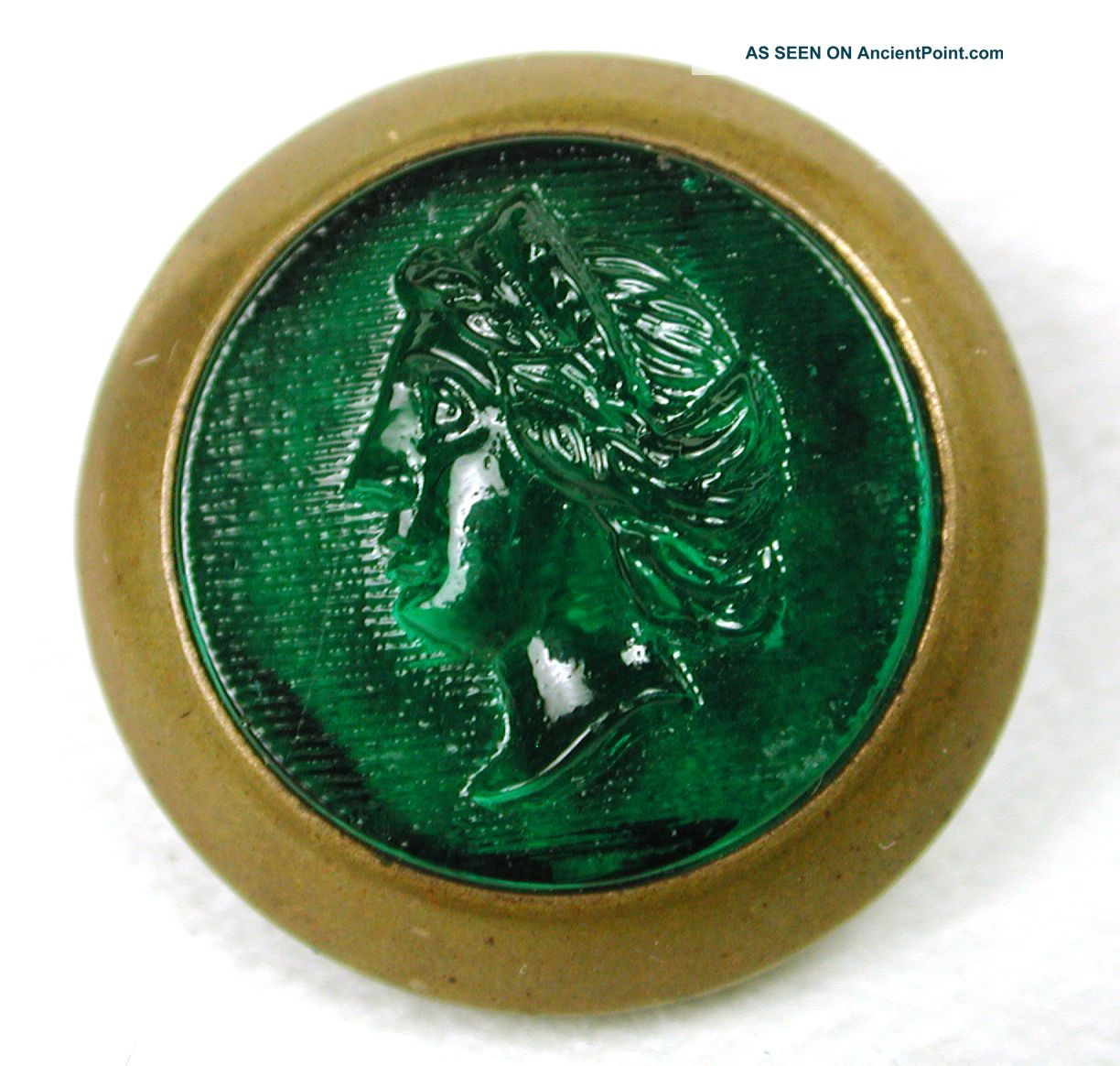 Antique Glass In Metal Button Green Womans Head Pictorial In Brass Back Buttons photo