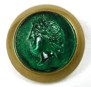Antique Glass In Metal Button Green Womans Head Pictorial In Brass Back photo