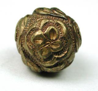 Antique Brass Chinese Robe Button Flower Design photo