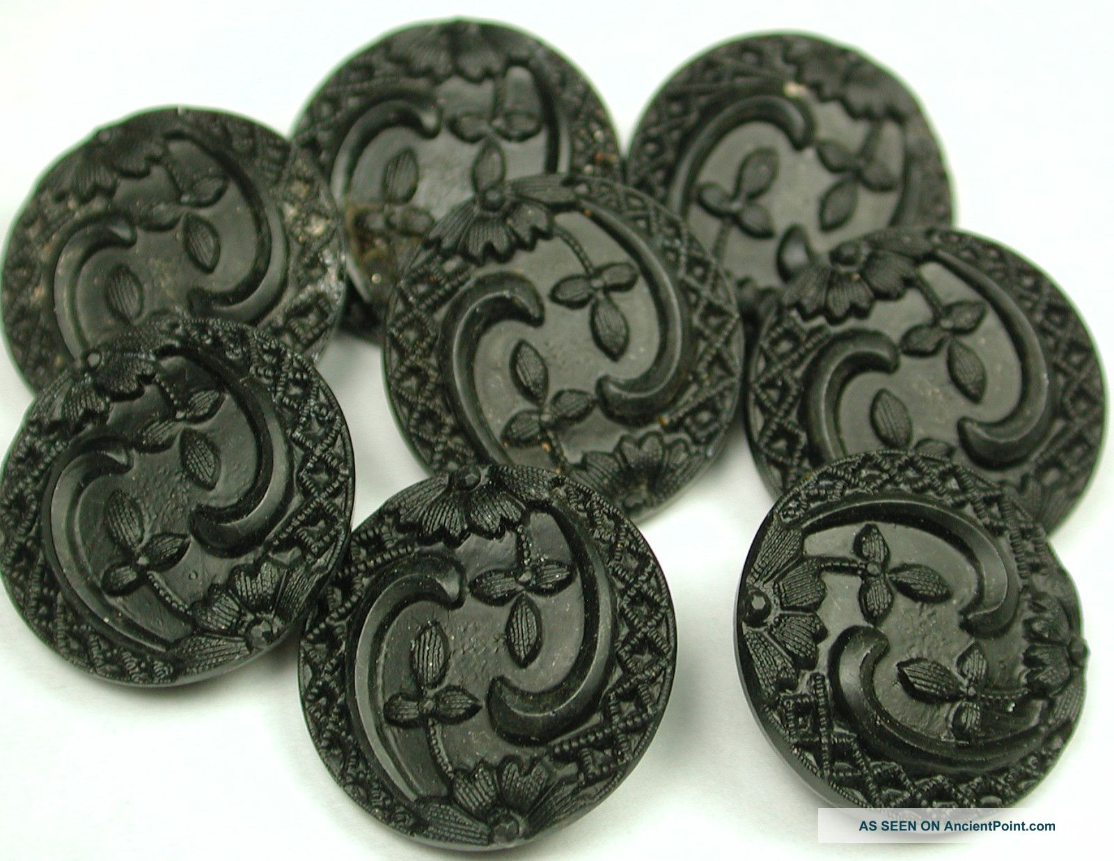 8 Div 1 Antique Black Glass Buttons Nouveau Floral Design Buttons photo