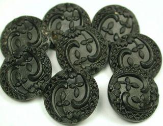 8 Div 1 Antique Black Glass Buttons Nouveau Floral Design photo