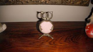 Vintage Antique Solid Brass Owl Pin Cushion Scissor Set Rare photo