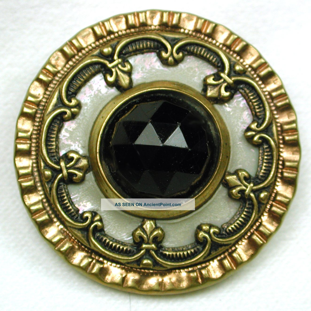 Antique Jewel Button Faceted Glass Center W/ Celluloid Liner & Brass Border Buttons photo