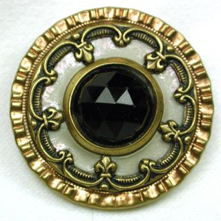Antique Jewel Button Faceted Glass Center W/ Celluloid Liner & Brass Border photo