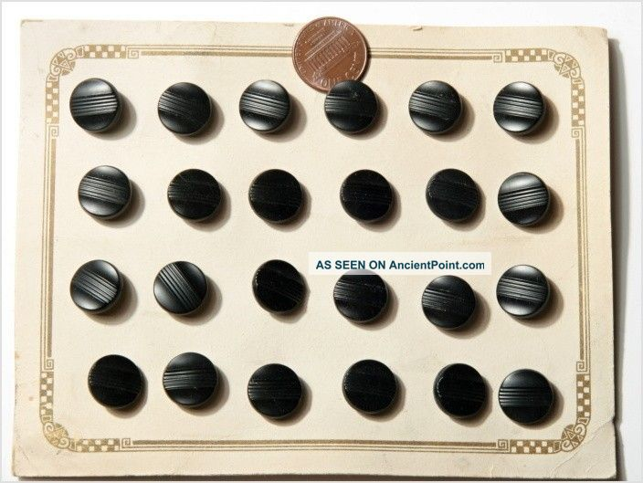 Card (24) 13 Mm 20´s Vintage Czech Art Deco Black Glass Buttons Buttons photo