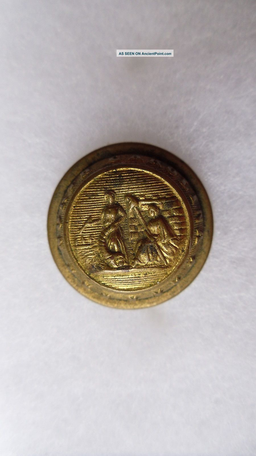 Antique North Carolina State Seal Coat Button Waterbury Button Co 23 Mm Buttons photo