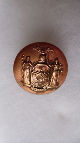 Antique New York State Seal Coat Button Scovill Mfg Co Waterbury 23 Mm photo
