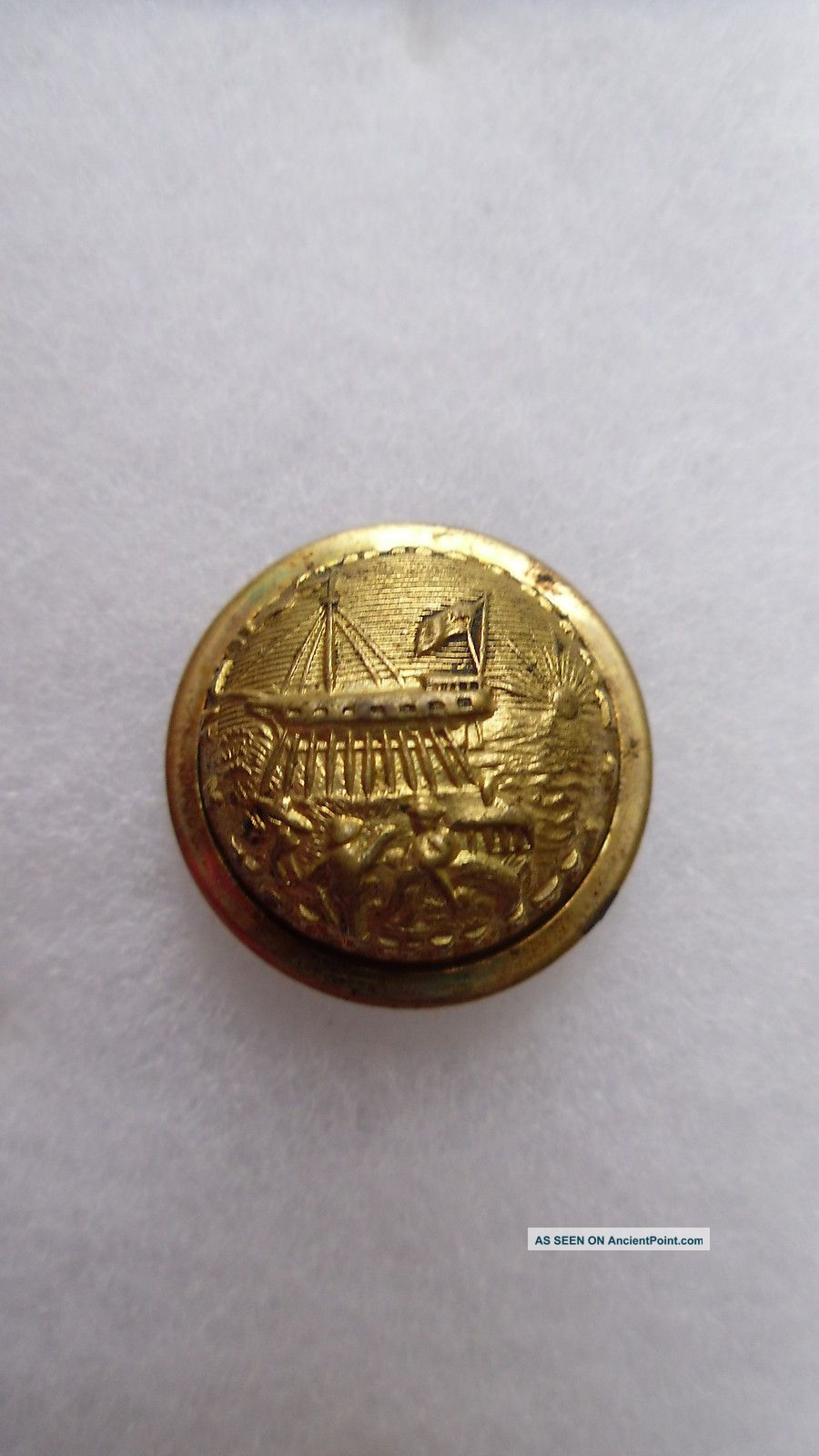 Antique New Hampshire State Seal Coat Button Scovill Mfg Co Waterbury 23 Mm Buttons photo