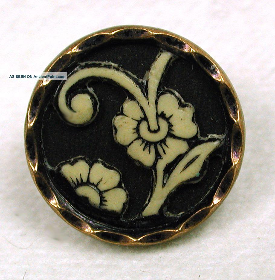 Antique Ivoroid Button Pretty Floral Design Buttons photo