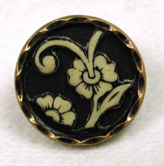 Antique Ivoroid Button Pretty Floral Design photo