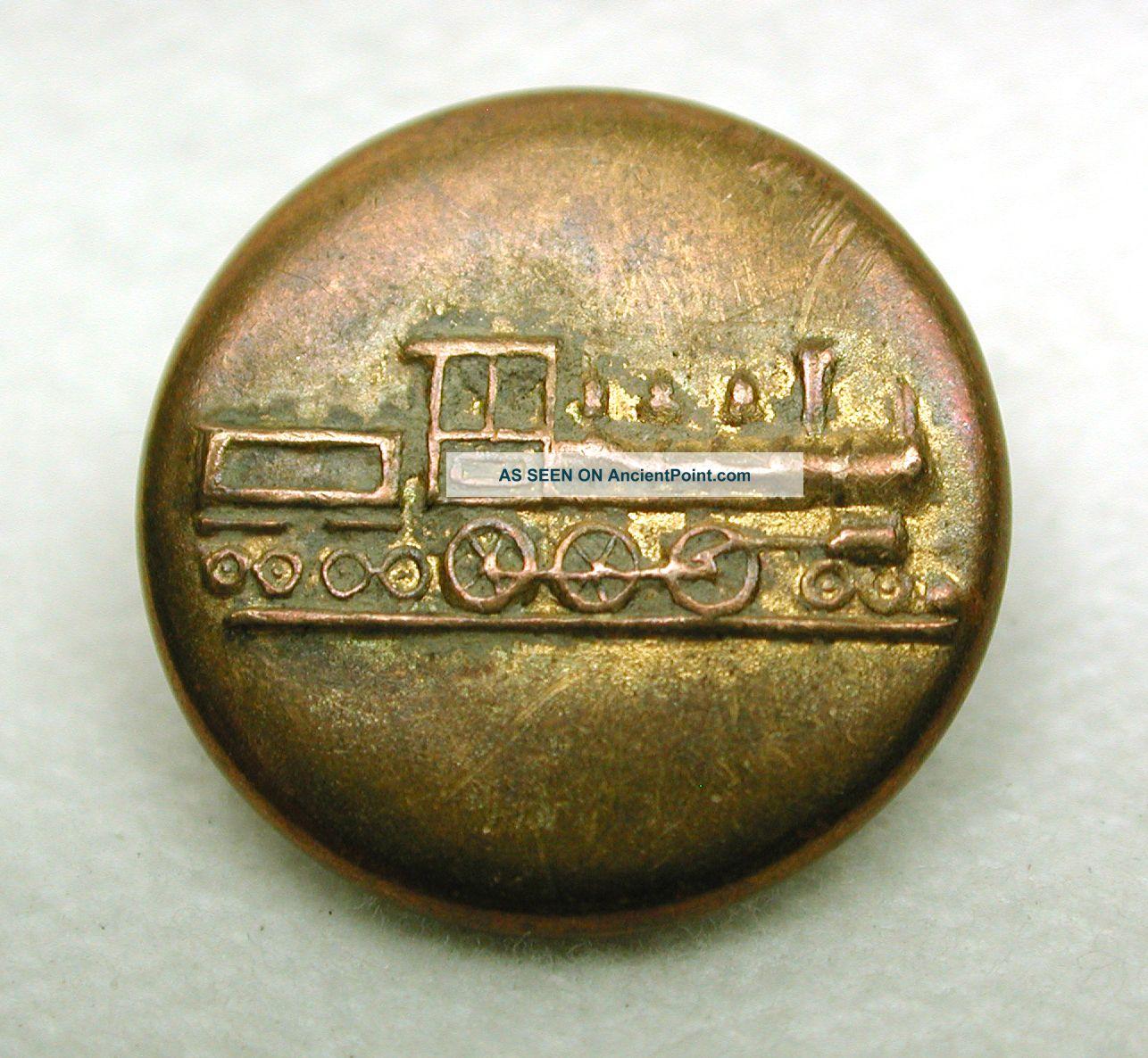 Antique Work Clothes Button Steam Locomotive Engine Design Buttons photo