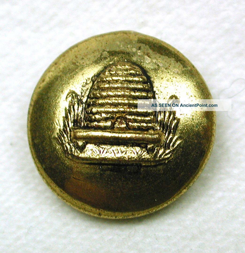 Antique Brass Button Beehive Pictorial Design Buttons photo