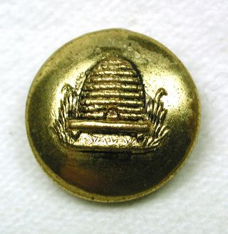 Antique Brass Button Beehive Pictorial Design photo