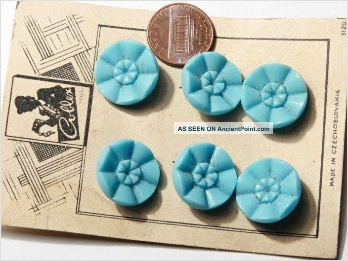 Card (6) 18 Mm Vintage Czech Art Deco Pale Blue Flower Glass Buttons Buttons photo