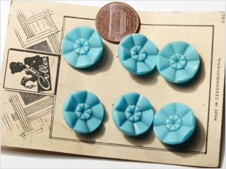 Card (6) 18 Mm Vintage Czech Art Deco Pale Blue Flower Glass Buttons photo