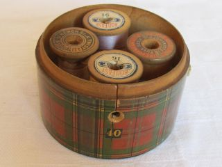 Antique 4 Spool Thread Container Holder Round Wood Box Dispenser Plaid photo