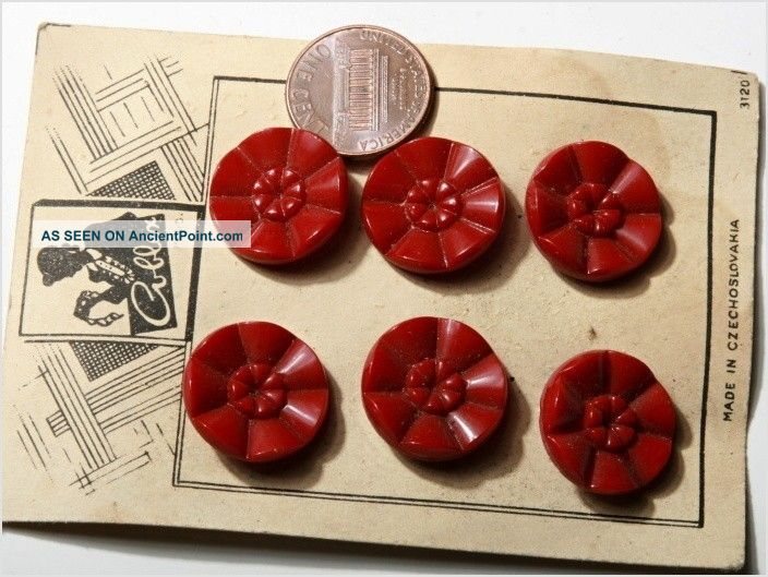 Card (6) 18 Mm Vintage Czech Art Deco Dark Red Flower Glass Buttons Buttons photo