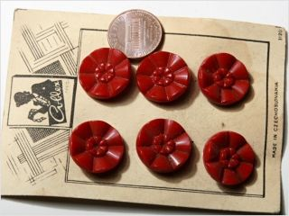 Card (6) 18 Mm Vintage Czech Art Deco Dark Red Flower Glass Buttons photo