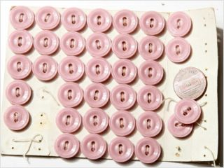 Card (36) 14 Mm Vintage Czech Pink Sew Thru Sheet Glass Buttons photo