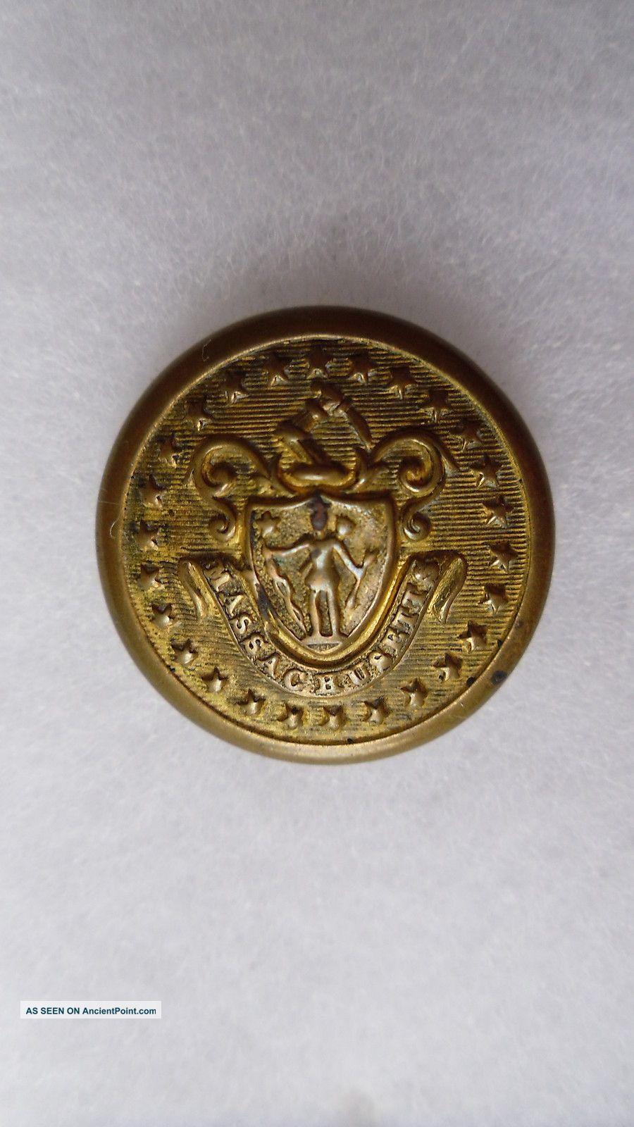 Antique Massachusetts State Seal Coat Button