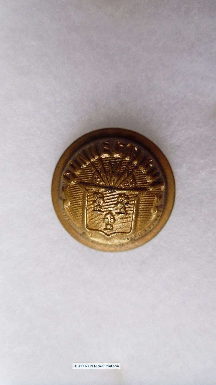 Antique Connecticut State Seal Coat Button Goodwins Pat July 27,  1875 23 Mm Buttons photo