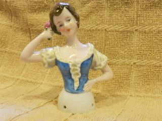 Antique German Pincushion Half Blue Ruffled Top Short Brown Hair Inscribed ' S photo