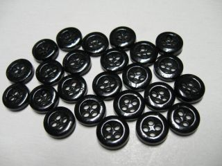 Matching Set Of 24 Antique Black China 4 Hole Buttons 7/16
