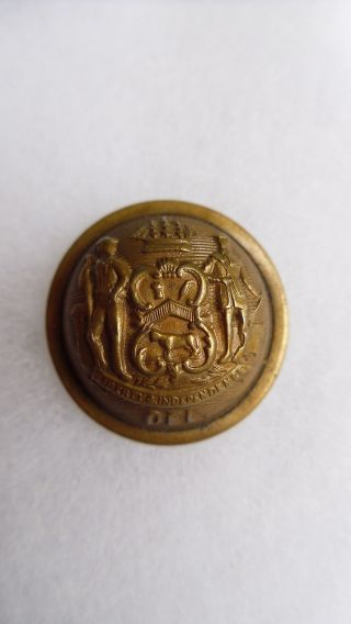 Antique Delaware State Seal Coat Button Goodwins 23mm Pat.  July 27,  1875 photo
