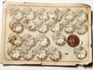 Card (19) 18 Mm Vintage Art Deco Czech Crystal Glass Glass Buttons Sew Thru photo