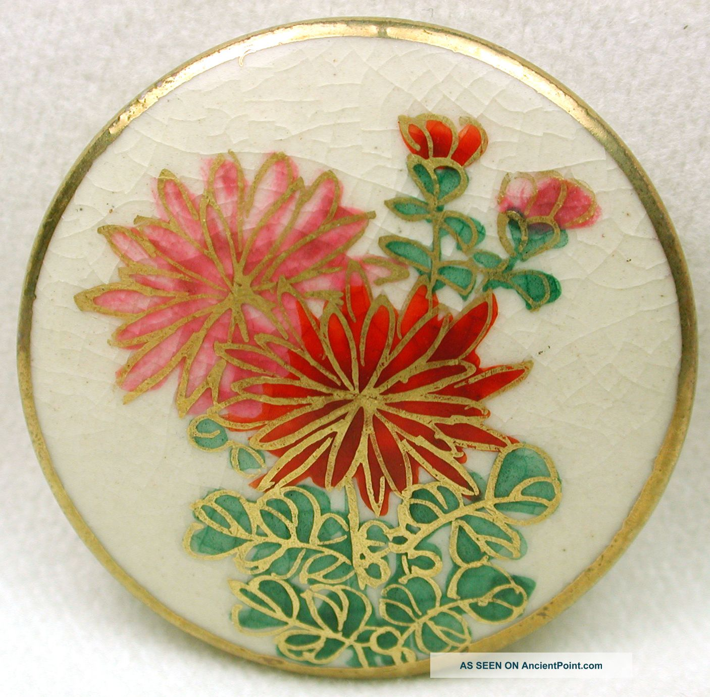 Vintage Satsuma Button Pink & Red Floral Design W/ Gold Accents 1 & 3/16 Inch Buttons photo