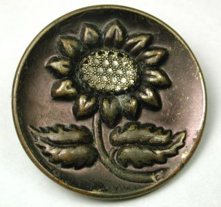 Antique Brass Button Pictorial Floral Design Lg Sz photo