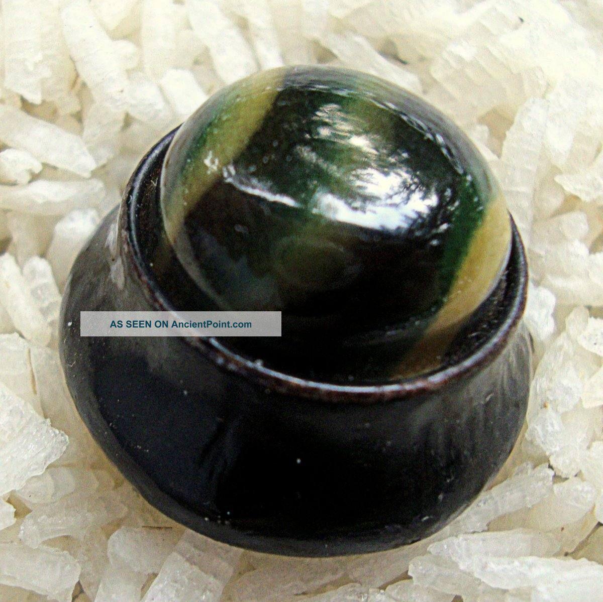 Rare Antique 1900 ' S Black Metal Self Shank Tightcap Button Tiger Eye Celluloid Buttons photo