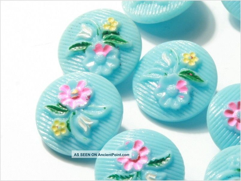 (12) 18 Mm Antique Vintage Czech Floral Baby Blue Glass Buttons Painted Buttons photo